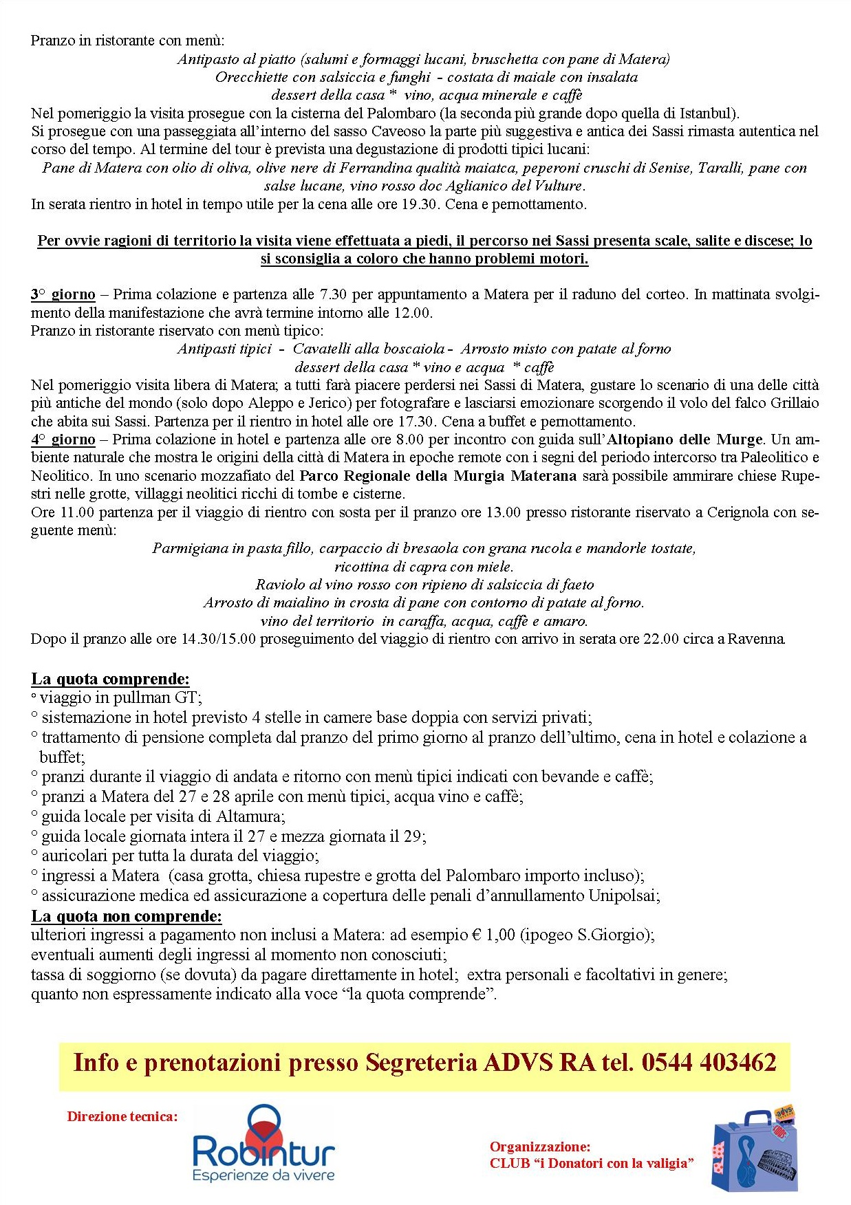 Matera - 37esima Giornata Donatore FIDAS Il programma